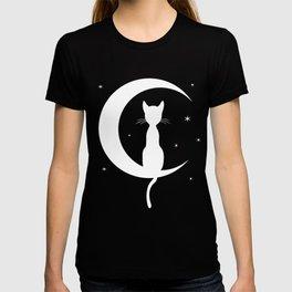Cat on Moon Silhouette (Darks) T-shirt
