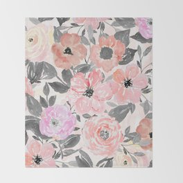 Elegant simple watercolor floral Throw Blanket
