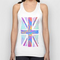 union jack Tank Tops featuring Holographic Union Jack  by Berberism