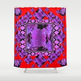 RED PURPLE AMETHYST FEBRUARY GEM BIRTHSTONE MODERN ART Shower Curtain