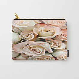 Delicate Peach Roses Carry-All Pouch