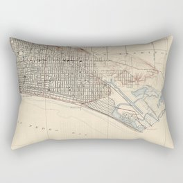 Vintage Map of Long Beach California (1923) Rectangular Pillow