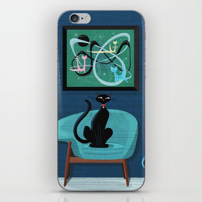 Creature Comforts Mid-Century Interior With Black Cat iPhone Skin