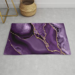 Glamour Purple Bohemian Watercolor Marble With Glitter Veins Rug