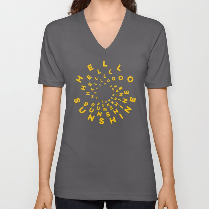 Hello Sunshine #minimal #typography #summervibes Unisex V-Neck