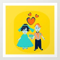 wedding Art Prints featuring wedding by luiza13