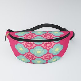 Pink Blue Yellow Modern Funky Flowers Fanny Pack