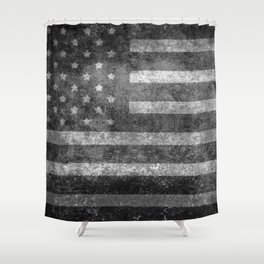 Black and White USA Flag in Grunge Shower Curtain