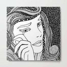 Crying girl. Lichtenstein Metal Print