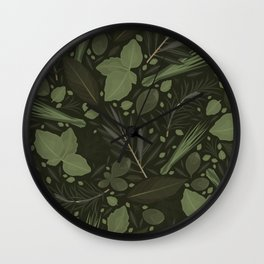 Green Herbs Spices / Olive Green Palette Wall Clock