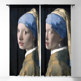 Girl with a Pearl Earring by Johannes Vermeer Blackout Curtain