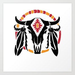 Aztec Pattern Cow Skull Cowboy Indian Mexican Art Print