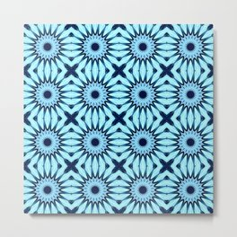 Aqua Midnight Blue Pinwheel Flowers Pattern Metal Print
