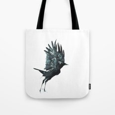 Crow Taking Off Tote Bag