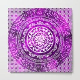 'Purple Destiny' Purple & White Flower Of Life Boho Mandala Design Metal Print