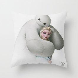 Sweet Hug - Baymax and Elsa Throw Pillow