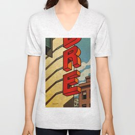 In red vertical Unisex V-Neck