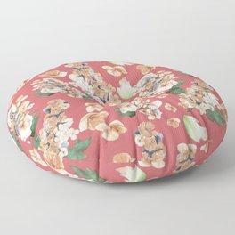 Autumn Hydrangea on Rose Pattern Floor Pillow