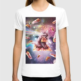 Outer Space Pizza Cat - Rainbow Laser, Taco, Burrito T-shirt