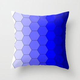 Hexagons (Blue) Throw Pillow