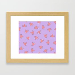 Crazy Happy Uterus in Purple, Large Framed Art Print