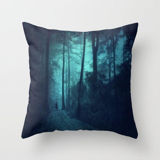 Light in a cyan forest Throw Pillow