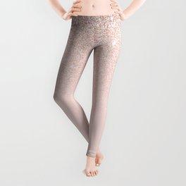 Elegant Girly Rose Gold Pink Glitter Ombre Leggings