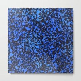 Blue indigo terrazzo pattern Metal Print