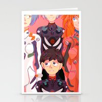 evangelion Stationery Cards featuring Evangelion Kids by minthues