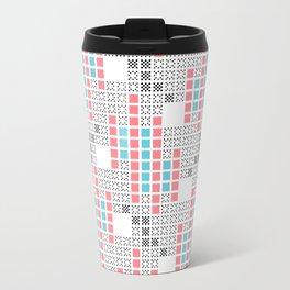 BRIXHAM, RETRO SQUARES: TURQUOISE, PINK on WHITE Travel Mug