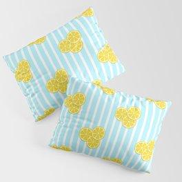 Lemon Slices on Light Blue Stripes Pillow Sham