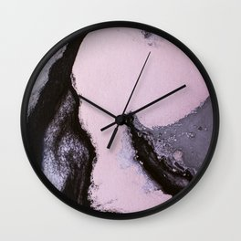 Pink and black marbling paper Wall Clock