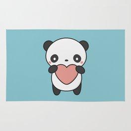 Kawaii Cute Panda With A Heart Rug