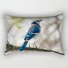 Blue Jay Calling Rectangular Pillow