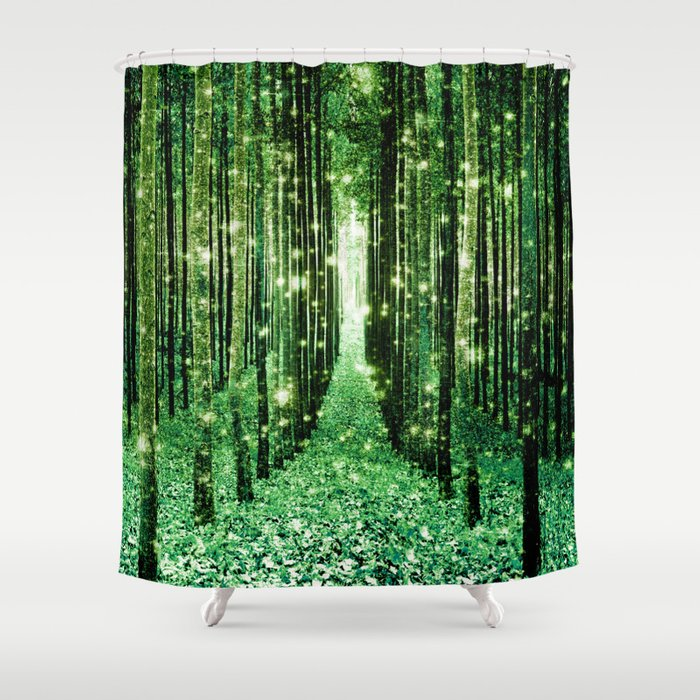 Magical Forest Green Elegance Shower Curtain