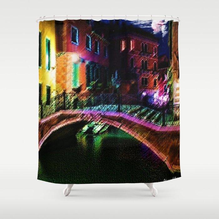 Moonlit night on a Venice Canal Landscape Painting by Jéanpaul Ferro Shower Curtain