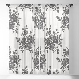 Black Roses Romantic Pattern Sheer Curtain