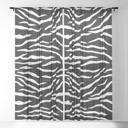 Black and White Jungle Big Cat Tiger Stripes Sheer Curtain