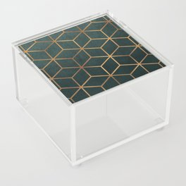 Dark Teal and Gold - Geometric Textured Gradient Cube Design Acrylic Box