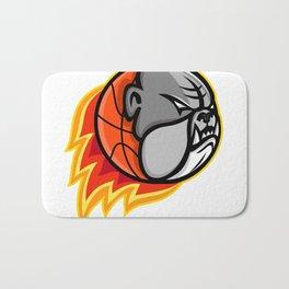 Bulldog Blazing Basketball Mascot Bath Mat