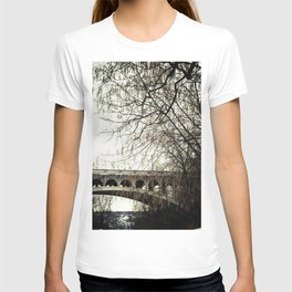 Vintage Retro Rustic Bridge with Framing Tree Desaturated Colored Wall Art Lustre Print OR Framed Pr T-shirt