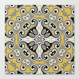 Edwardian Geo Yellow Grey Canvas Print