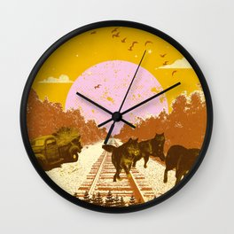 WILD WOLVES Wall Clock