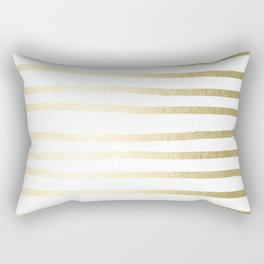 Simply Drawn Stripes Gilded Palace Gold Rectangular Pillow