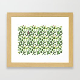 Nature friends - little bugs and leaves Framed Art Print