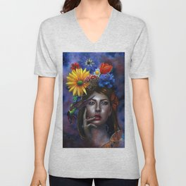 Mind Blown Oil Painting Unisex V-Neck