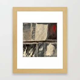 Textured Marble Popular Painterly Abstract Pattern - Black White Gray Red Framed Art Print