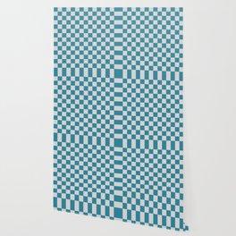 Teal and Grey Check Wallpaper