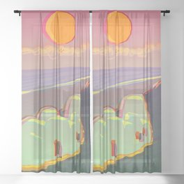 Red Moon Summer Vibrations Sheer Curtain