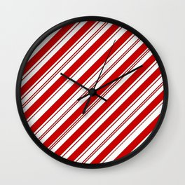 winter holiday xmas red white striped peppermint candy cane Wall Clock